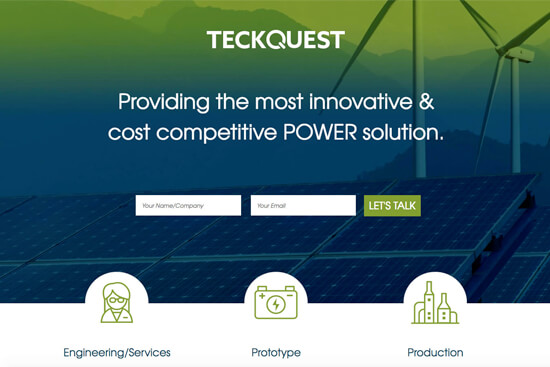 Landing page for teckquest.com