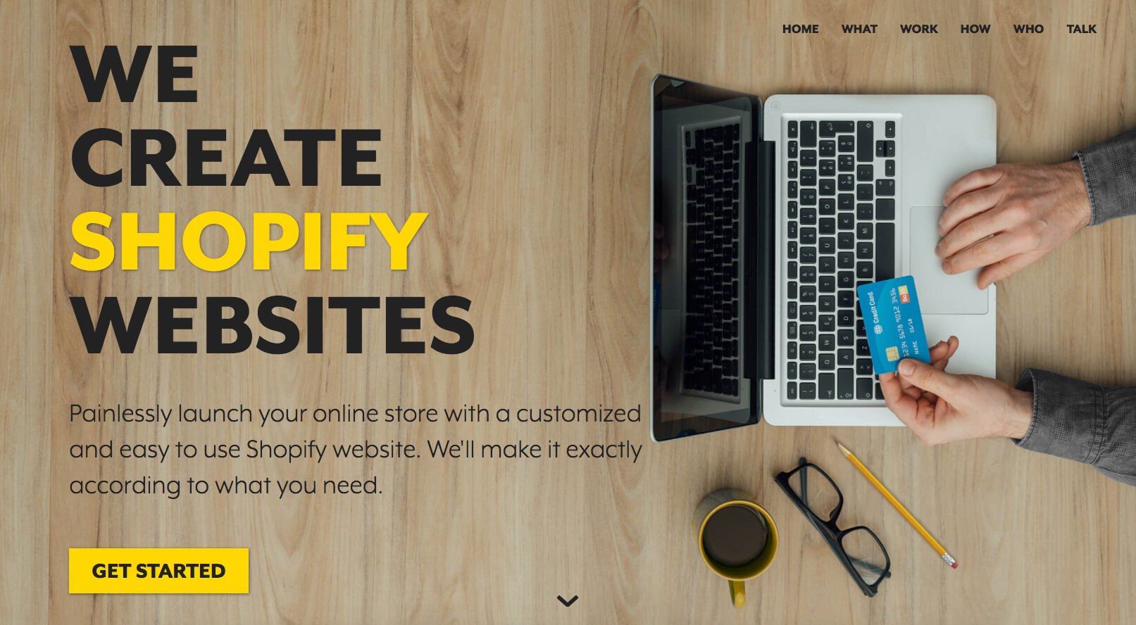 Custom Shopify Websites Landing Page