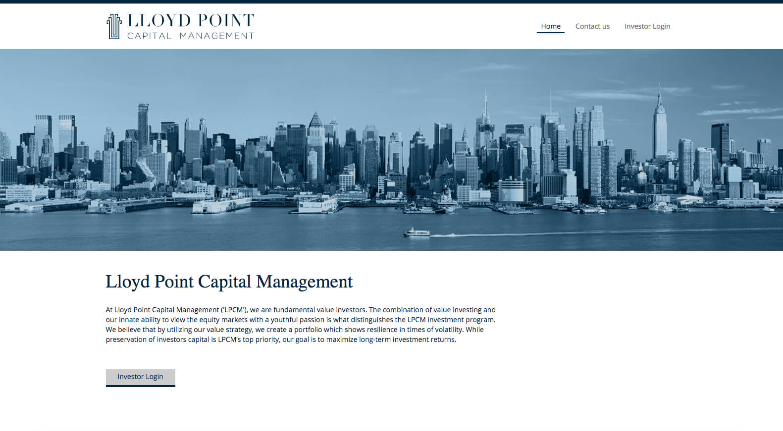 Lloyd Point Capital Mgmt. Landing Page