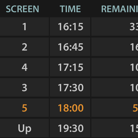 Movie Theater Timetable