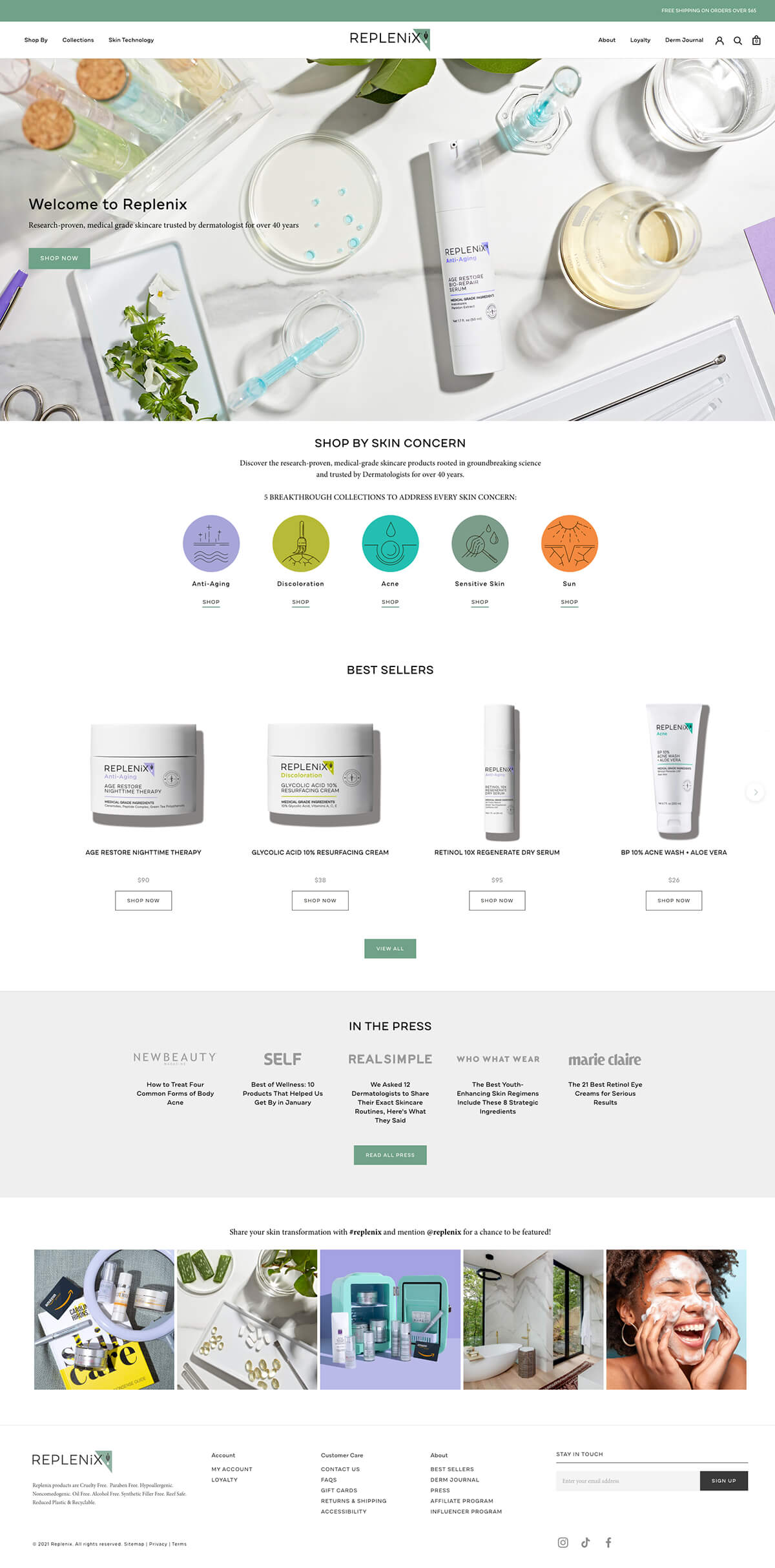 Thumbnail for Shopify site for skincare brand