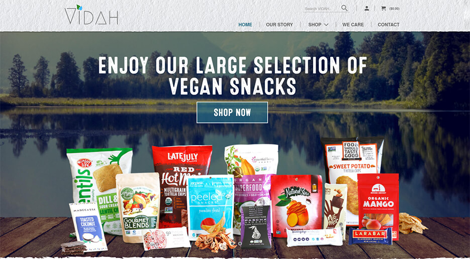 Thumbnail for Shopify store selling vegan products